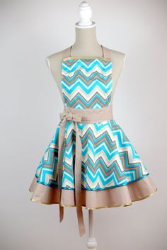 LUXURY CHIC&Lovely apron CHEVRON beige by CHICLovely on Etsy