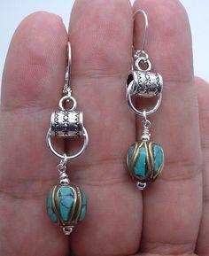 Dangle Nepal Turquoise Beads Sterling Silver Earrings   --- Leverbacks  A0917 #Handmade #DropDangle