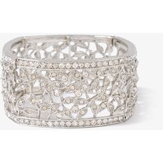 FOREVER 21 Sparkling Filigree Bracelet ($13) ❤ liked on Polyvore featuring jewelry, bracelets, accessories, silver, wardrobe, filigree jewelry, forever 21 bangle, rhinestone bangle, sparkle jewelry and forever 21