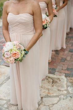 Strapless Pale Pink Bridesmaids | photography by http://photographybyvanessa.com/