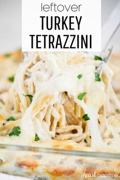 If you're looking for a way to use up that leftover roasted turkey from your Thanksgiving menu, this turkey tetrazzini recipe is the perfect solution! It's easy to make and takes less than 10 ingredients. #turkey #turkeyrecipes #leftoverturkey #leftoverturkeyrecipes #thanksgivingleftovers #turkeytetrazzini #casseroles #pasta #pastabake #easyrecipes #easycasseroles #easydinners #recipes #iheartnaptime