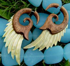 Fake Gauge Earrings Gold Shell  hawaii koa wood  by ANELAJADE, $26.00