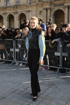 Actress Cate Blanchett attends the Louis Vuitton show as part of the Paris Fashion Week Womenswear Spring/Summer 2018 on October 3 2017 in Paris...