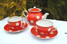 Red and White Polka Dot Tea Set, Soviet vintage, tea set for 2,Ukrainian porcelain ,home decor ,retro tableware , Russian kitchen, USSR