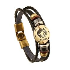 Beautiful custom design 12 Zodiac Signs Leather Charm Bracelet. The…