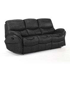 Black leather sectional sofa with recliner