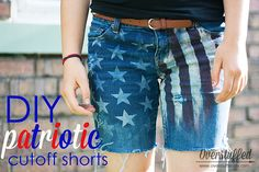 How to make patriotic denim shorts with just a few inexpensive supplies and an old pair of jeans. Easy enough for kids to do themselves. 4th Of July Outfits, Holiday Outfits, Holiday Clothes, Cool Kids Clothes, Diy Clothes, Fashion 2017, Fashion Dresses, Boy Fashion, Kids Clothes Australia