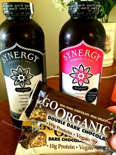 My new Whole Foods Obsessions!!   Synergy Drinks and Go Organic Vegan Protein bars <3  I've tried the Guava Goddess flavor before and loved it, so I thought I'd take the advice of my fitfam and try these flavors! Superfruits & Raspberry Rush. REPIN if you love Kombucha!  #kombucha #synergy #goorganic #nugo