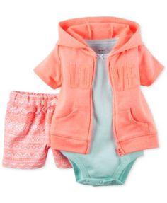 Carter's Baby Girls' 3-Piece LOVE Cardigan, Bodysuit & Shorts Set