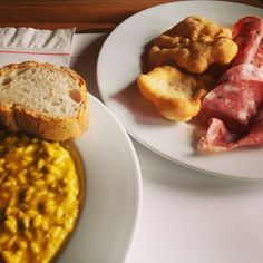 Uni lunch; pumpkin risotto and fried bread with salami. God bless!