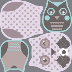 owl cut and sew plushie toy on the fabric swatch fabric by katarina on Spoonflower - custom fabric