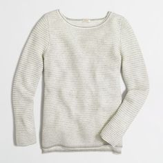 J.Crew Factory chevron-stitch boatneck sweater ($68) ❤ liked on Polyvore featuring tops, sweaters, chevron sweater, stitch sweater, chevron top, boat neck tops and long sleeve sweaters