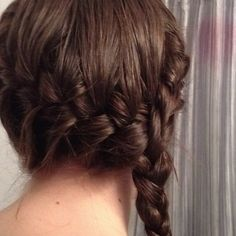 Two Dutch braids converging into one braid. A little obsessed with these books and movies haha Suzanne Collins, Katniss Hair, Pretty Hairstyles, Braided Hairstyles, Two Dutch Braids, Crazy Hair, Bad Hair, Great Hair, Hair Dos