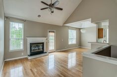 Love the modern open layout and vaulted ceilings in this Nashville home!
