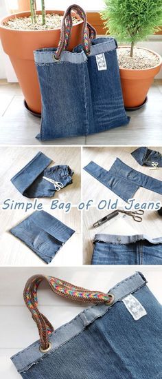 Simple Bag of Old Jeans. Sew Tutorial How to make denim bag from recycled old je 2019 Simple Bag of Old Jeans. Sew Tutorial How to make denim bag from recycled old jeans The post Simple Bag of Old Jeans. Sew Tutorial How to make denim bag from recycled Jean Crafts, Denim Crafts, Sewing Hacks, Sewing Tutorials, Sewing Tips, Jean Diy, Altering Jeans, Denim Ideas, Simple Bags