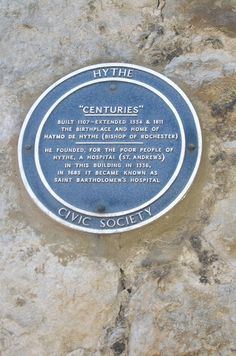 Blue plaque for Haymo de Hythe, Bishop of Rochester.