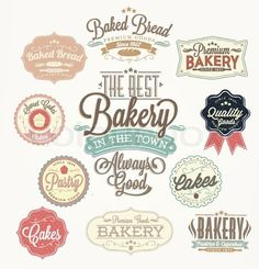 "Buy the royalty-free Stock vector ""Vintage Retro Bakery Badges And Labels"" online ✓ All rights included ✓ High resolution vector file for print, web & S. Vintage Logos, Logos Retro, Vintage Labels, Retro Vintage, Ideas Vintage, Creative Logo, Logo Patisserie, Pastry Logo, Logos Photography"