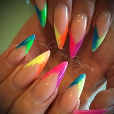 nails – Neons Baby by CarlaClarkNails from Nail Art Gallery Nail art from the NAILS Magazine Nail Art Gallery, acrylic, Funky Nails, Neon Nails, Cute Nails, Pretty Nails, Neon Acrylic Nails, Yellow Nails Design, Yellow Nail Art, Neon Yellow Nails, Bling Nails