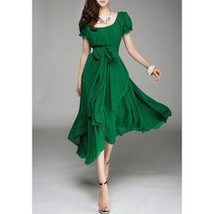 $14.58 Refreshing Style Scoop Neck Solid Color Lace-Up Short Sleeve Chiffon Dress For Women
