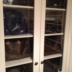 Old office cabinets became handbag storage in the new closet #closetstorage #handbags