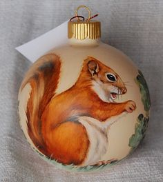 Hand painted Wildlife Glass Ornament - Squirrel, hand painted glass ball ornaments by decorativeart on Etsy Glass Christmas Ornaments, Ball Ornaments, Christmas Balls, Squirrel Girl, Cute Squirrel, Squirrels, Squirrel Pictures, Kobold, Hand Painted Ornaments