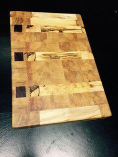 Spalted Maple Endgrain Butcher Block by HFCustomWoodworks on Etsy