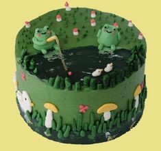 Pretty Birthday Cakes, Pretty Cakes, Pastel Cakes, Frog Cakes, Cute Baking, Cute Desserts, Just Cakes, Sweet Cakes, Mini Cakes