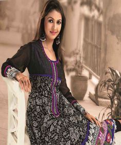 You`ll be tickled pink & blue when you are compliment on this kurta in blushing black colour.