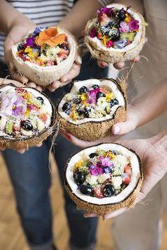 Smoothie Coconut Bowls w/ Granola + Fresh Fruit + Edible Flowers