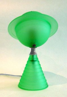 Rare Original Art Deco Green Glass Saturn Lamp Blade Runner | From a unique collection of antique and modern table lamps at https://www.1stdibs.com/furniture/lighting/table-lamps/