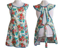 Plus size Apron  Red and Turquoise Flowers on by timelessaprons, $48.00