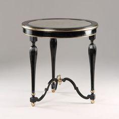 Antique Black Round Accent Table