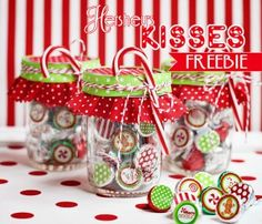 DIY GIFT- Free Christmas Hershey kiss labels...i think these would make cute envelope seals as well