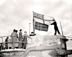 The German submarine U-190 surrenders in St. John's, Nfld., June 1945. EDWARD W. DINSMORE, LIBRARY AND ARCHIVES CANADA—PA145577