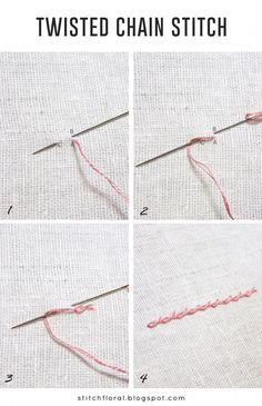 Ribbon Embroidery Patterns Twisted chain stitch tutorial, how to twisted chain stitch Brazilian Embroidery Stitches, Embroidery Stitches Tutorial, Simple Embroidery, Learn Embroidery, Hand Embroidery Patterns, Embroidery Techniques, Embroidery Kits, Ribbon Embroidery, Knitting Stitches