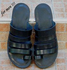 Handmade leather sandal PATROCLOS ..... all black ..