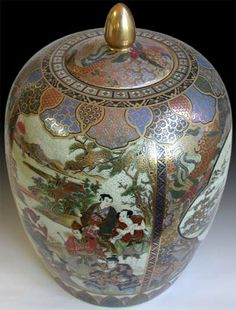A fine elaborately glazed and gilded Satusuma jar. The province of Satusuma in Kuishu one of the Japanese islands, became known for fine wares beginning around the end of the 16th Century. At that time Satsuma was a hard-glazed yellowish ware; however over time the term has come to be applied to various types of ornamented, enameled and gilded high fire pottery. This fine example is completely decorated in rich colors with gold, depicting a landscape with pavilions and scenes of Samurai…