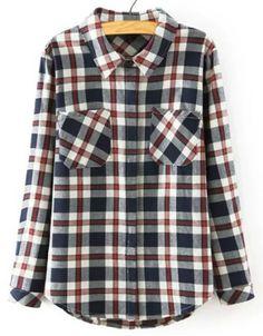 1558f556 Preppy Style Polo Collar Mini Plaid Long Sleeve Blouse For Women Button  Collar Shirt, Collar