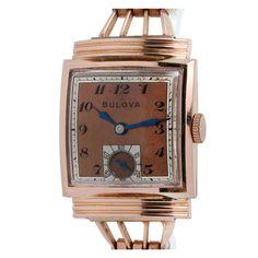 Bulova Rose Gold-Filled Dress Wristwatch with Bracelet circa 1940s