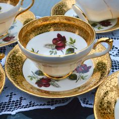 1950s Teacup and Saucer Duo  Elegant Wide Footed Cup by Wicksteads
