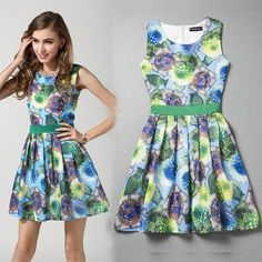 Women Summer Floral Ruffles Dresses Party Dresses Sleeveless Design European Fashion Casual Dress Online with $20.24/Piece on Smartmart's Store | DHgate.com