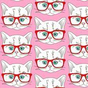 Kitten Hipster Pink - curious_nook - Spoonflower