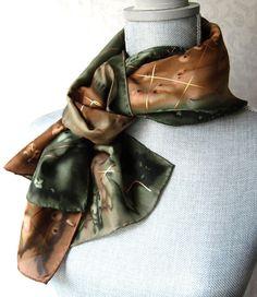 Hand Painted Silk Scarf in Olive and Brown by OceanAvenueSilks, $38.00