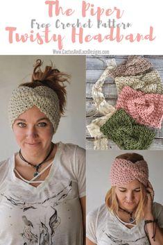 How to Crochet the Piper Twisty Headband ~ Cactus & Lace Designs Mode Crochet, Crochet Winter, Knit Crochet, Crochet Birds, Crochet Animals, Crochet Toys, Crochet Ear Warmer Pattern, Crochet Headband Pattern, Crochet Hair Accessories