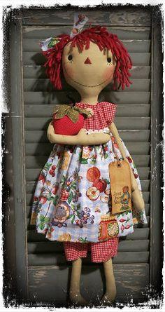 "Strawberry Annie.. using a pattern by Sweet Meadows Farm""  https://www.etsy.com/listing/165247033/handmade-primitive-strawberry-raggedy?ref=listing-shop-header-3"