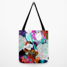 Forest Flowers Turquoise // Canvas Tote by MarcellaWylie on Etsy, £26.00