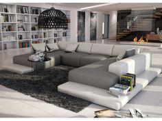 Sofá panorámico 7 plazas de piel sintética SCOSY - Blanco/gris antracita