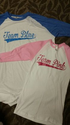 Gender Reveal Baseball Team Spirit Shirts. HTV Silhouette Cameo Craft.
