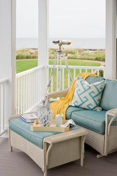 Traditional Wicker~Natural wicker furniture is a classic choice but is best suited for protected porches. Porch furniture pieces made from synthetic wicker offer a wicker style but are more durable and can be exposed to the elements.