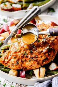 Honey Mustard Chicken baked with potatoes and green beans in ONE PAN for a flavor bursting meal-in-one OR just bake the chicken for a super easy dinner! Dinner Party Recipes, Lunch Recipes, Cooking Recipes, Easy Cooking, Cooking Hacks, Cooking Food, Yummy Recipes, Recipies, Yummy Food